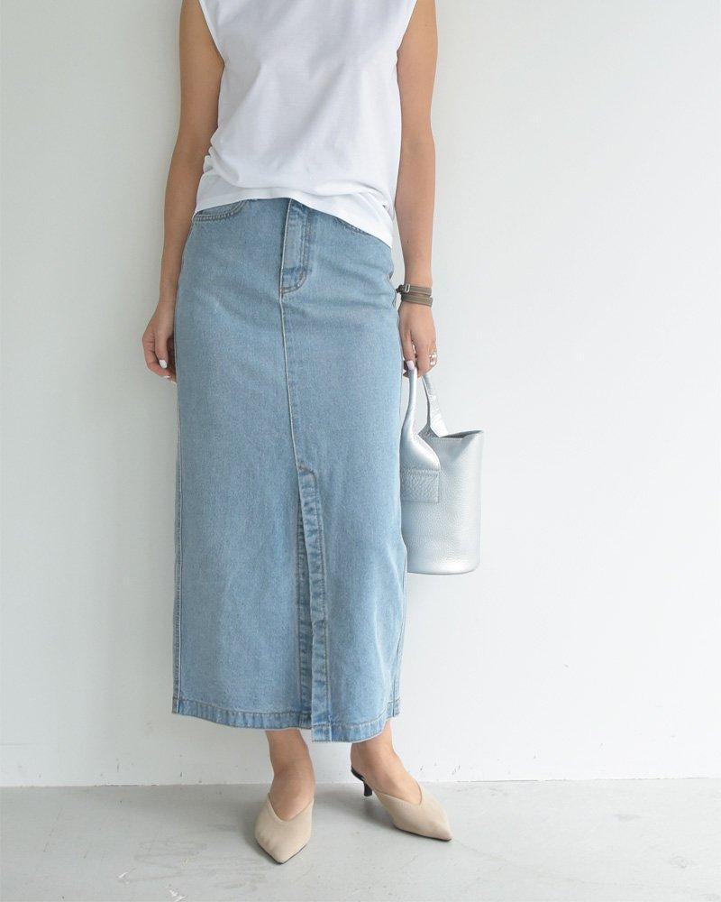 20SS スリットデニムロングスカート