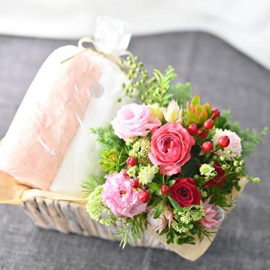 お花とフェイスタオル2枚 ギフトセット【花心 x WATANABE PILE】