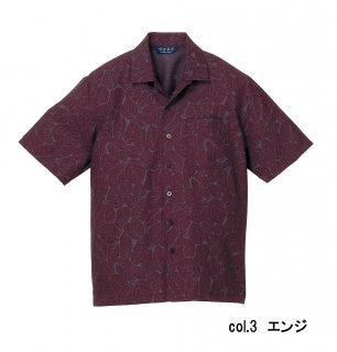 【半袖シャツ】KY0082 男女兼用 葉模様 SS〜4L