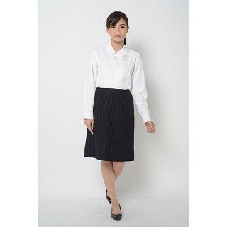 大人女子の定番!ウエストすっきりシルエット イージー・ケアAラインスカート ツインストライプ