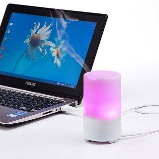 虹色カラーがオフィスでのお肌の乾燥と心を癒します♪USB加湿器(タイマー機能&LEDライト付き)