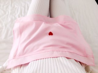 玄米カイロ おなか用カバー ピンク&ハート型刺繍
