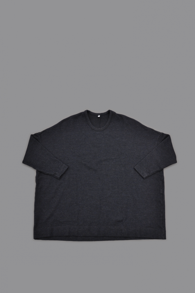 FIRMUM Urugay Wool Mat Weave Like Knit Wide L/S (Navy Top)