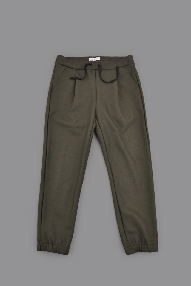 STILL BY HAND Wool Jersey 1-Tuck Easy Pants (Khaki)