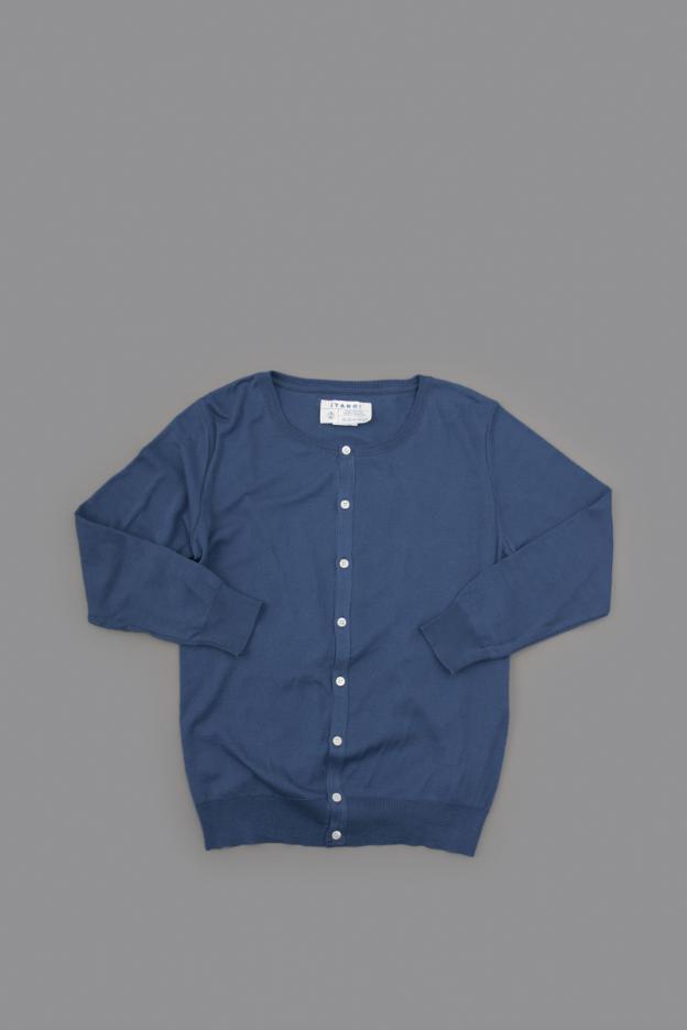 TANG ♀ Crew Neck Cardigan (D Blue)