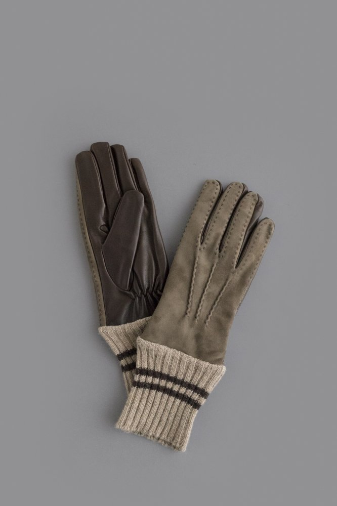 FRANCESCO GUANTI Lambskin × Knit Glove