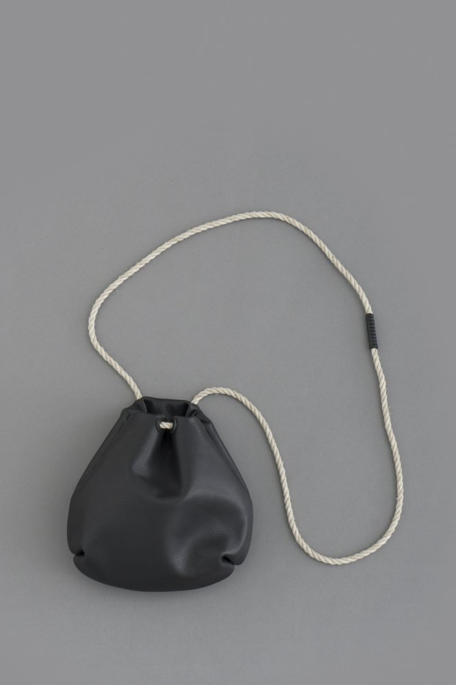 STYLE CRAFT Goatskin Drawstring Bag DK-02 (Ink Black)