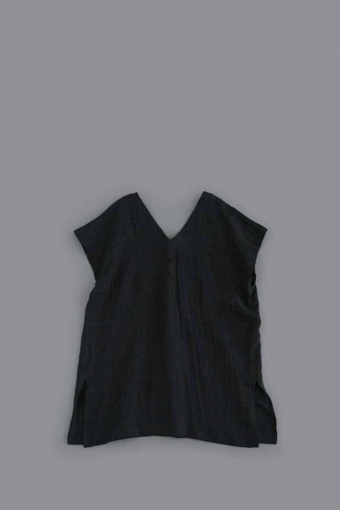 HAVERSACK ♀ Linen Jacquard V-Neck Tunic (Black)