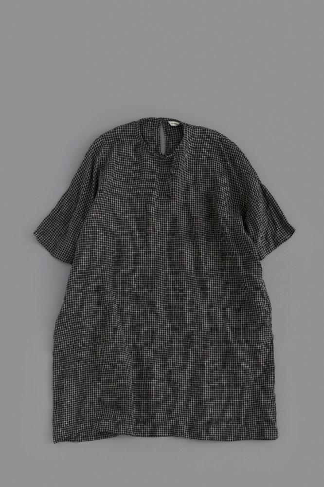 jujudhau ♀ BOX DRESS (BLACK × NATURAL CHECK)