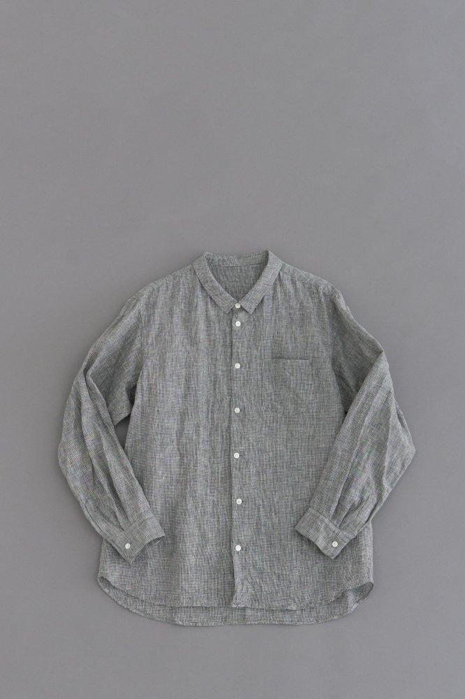 ゴーシュ ♀リネン千鳥 スモールカラーシャツ(千鳥柄)