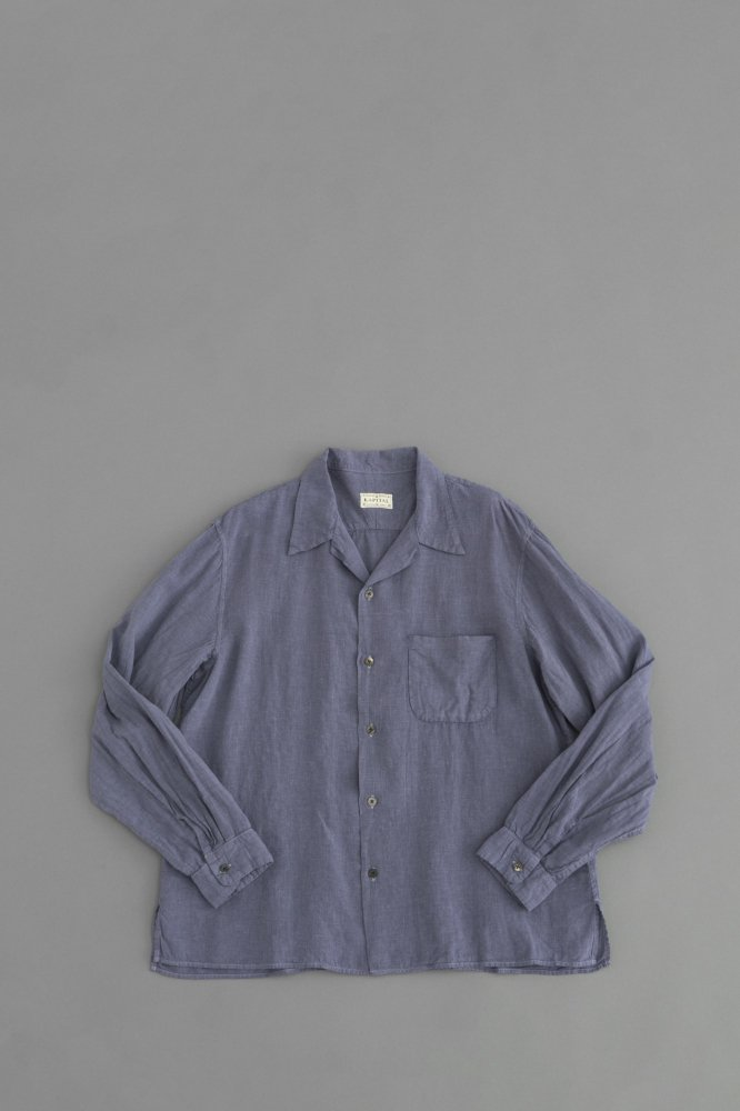 KAPITAL ソフトリネン 開襟シャツ(グレーパープル)