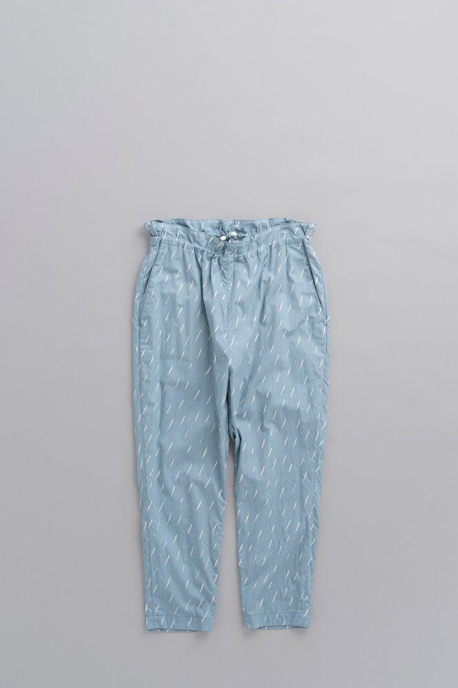 ゴーシュ ♀オーガニックブロードプリントテーパードイージーパンツ(ブルー×ライトベージュ)