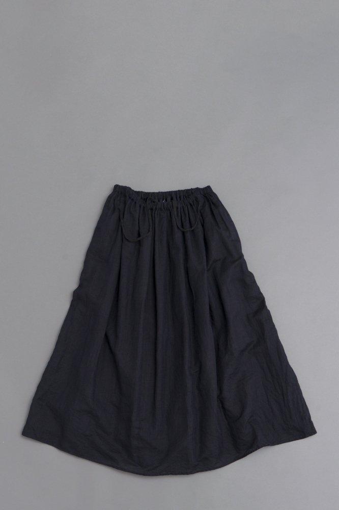ゴーシュ  ♀100/1リネンコットン ギャザースカート (ネイビー)