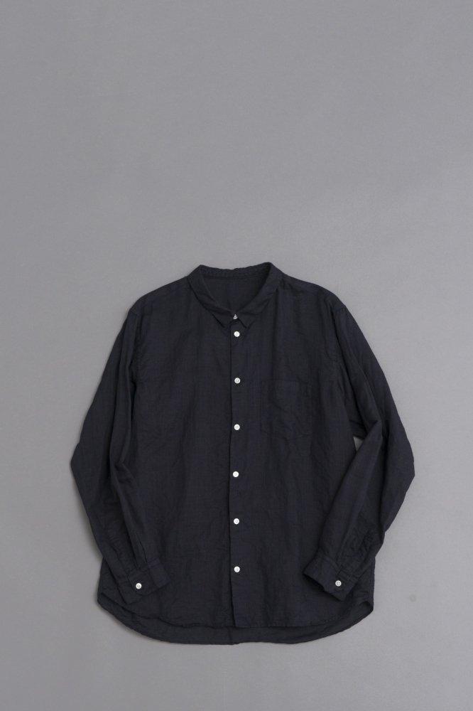 ゴーシュ  ♀100/1リネンコットン スモールカラーシャツ (ネイビー)