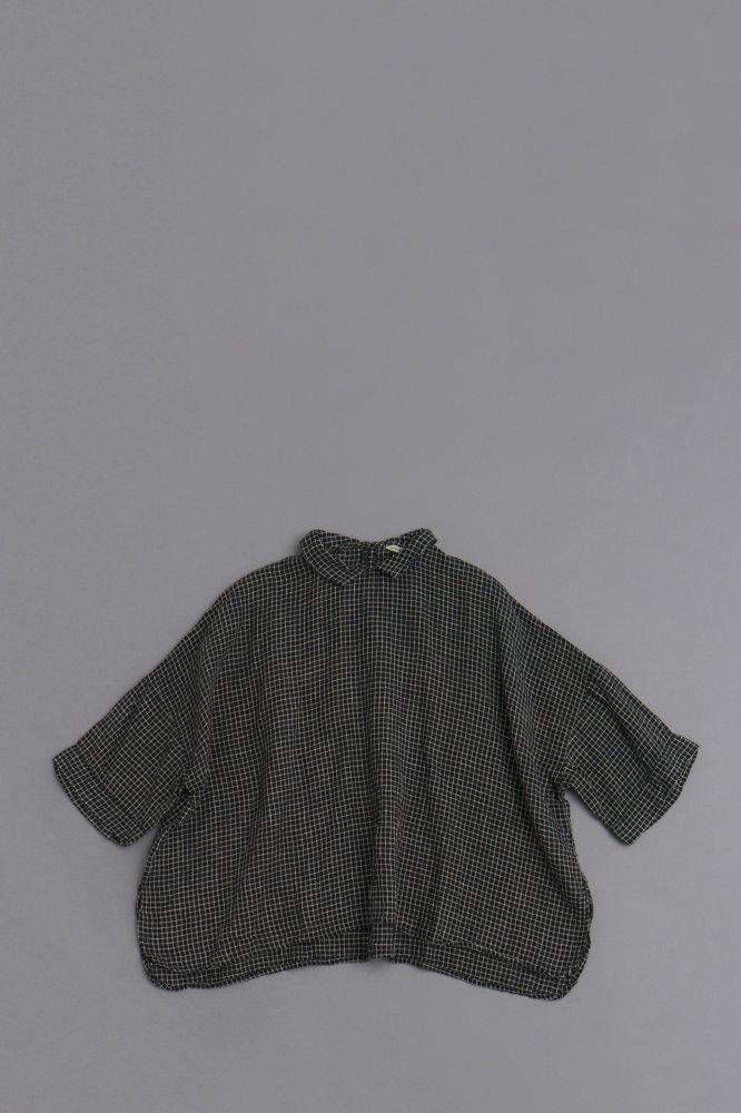 jujudhau ♀ PRIMP SHIRTS (BLACK × NATURAL CHECK)