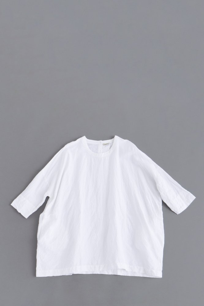 jujudhau ♀ SMALL NECK SHIRTS (LINEN COTTON WHITE)