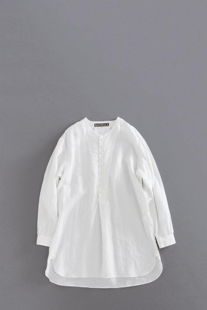 HAVERSACK Linen Pullover Semi Long Shirts (White)