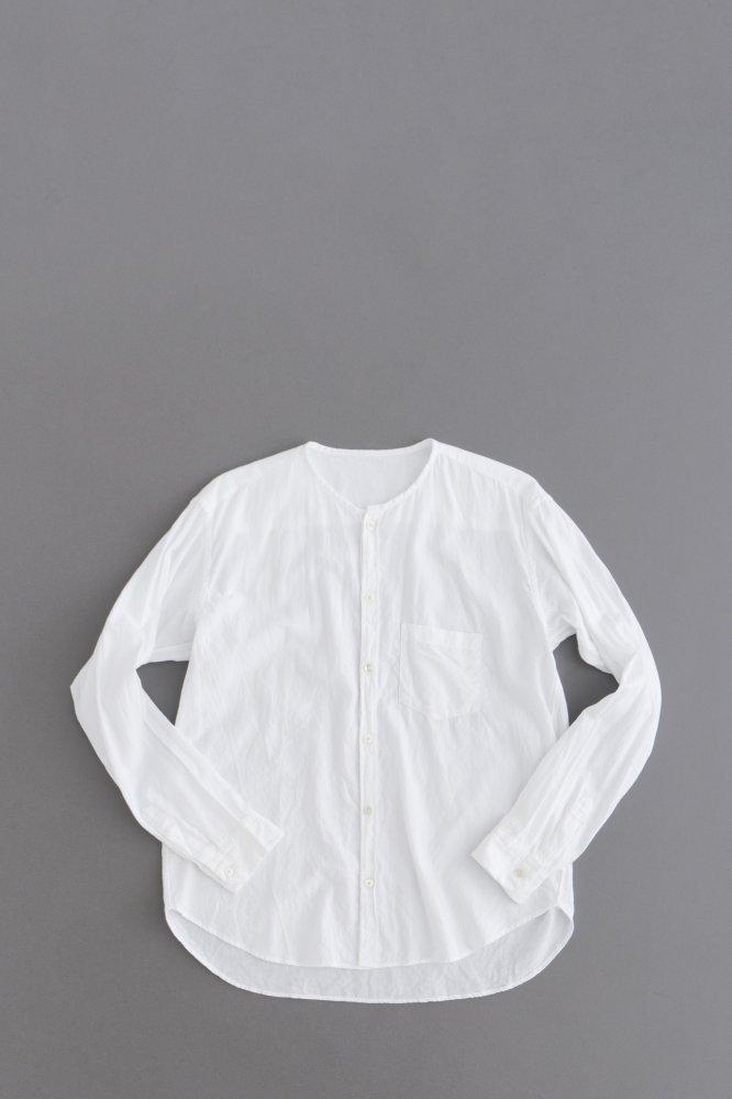 ゴーシュ  ♀50/1オーガニックツイル ノーカラーシャツ(ホワイト)