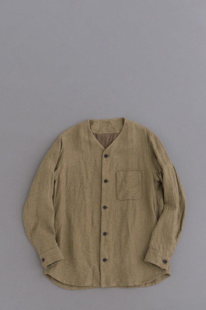 ゴーシュ ♀リネンシルクマット シャツジャケット (カーキ)