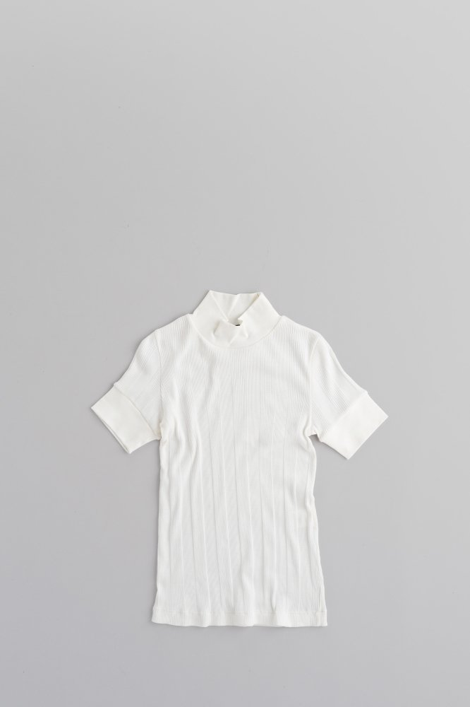 HAVERSACK ♀Welt Stitch Circular Rib High Neck T (White)