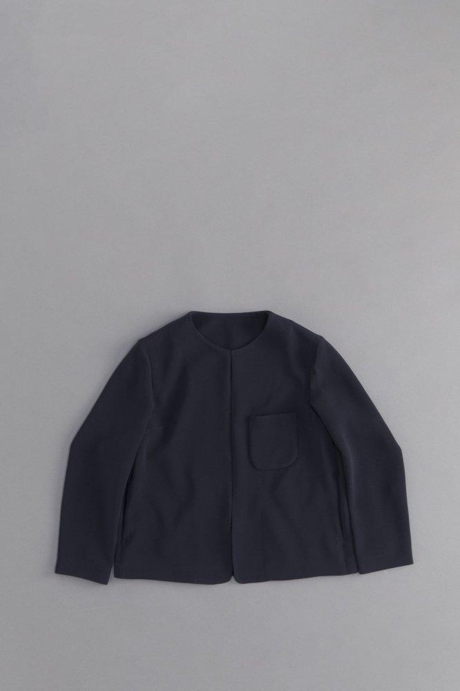 ゴーシュ ♀ ストレッチブラック ノーカラージャケット (ネイビー)