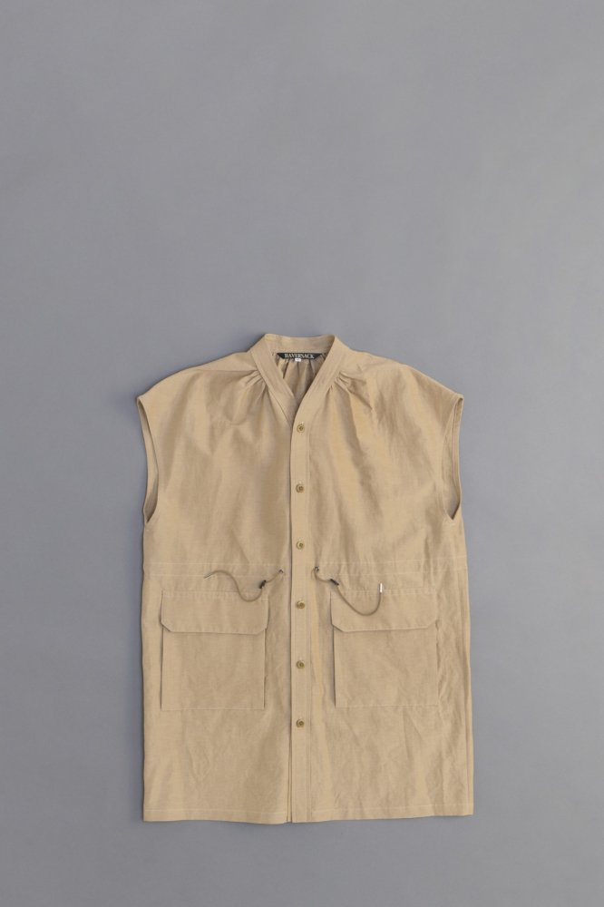 HAVERSACK ♀Grosgrain Long Vest (Beige)