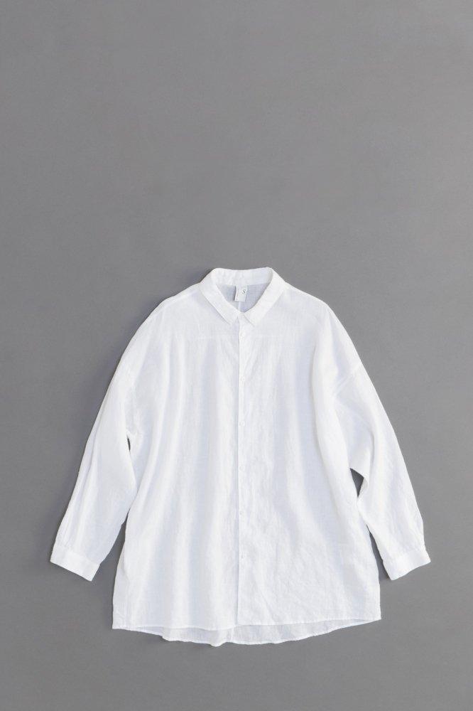 NO CONTROL AIR 80/-平織リネン ビッグシャツ (ホワイト)