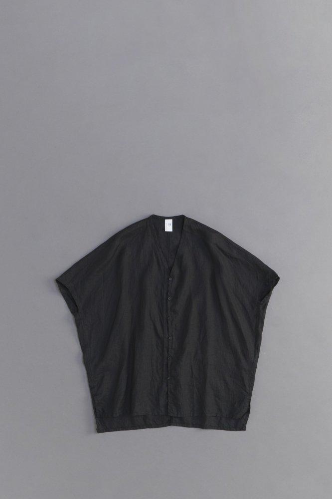 NO CONTROL AIR ♀ 80/-平織リネン ワイドVネックシャツ (ブラック)