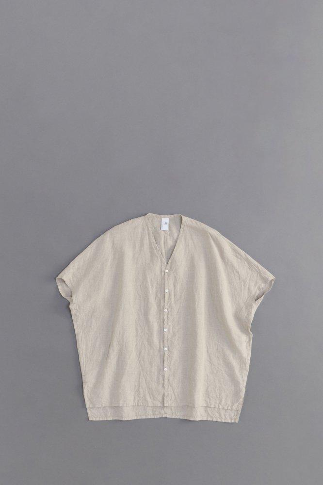 NO CONTROL AIR ♀ 80/-平織リネン ワイドVネックシャツ (ナチュラル)