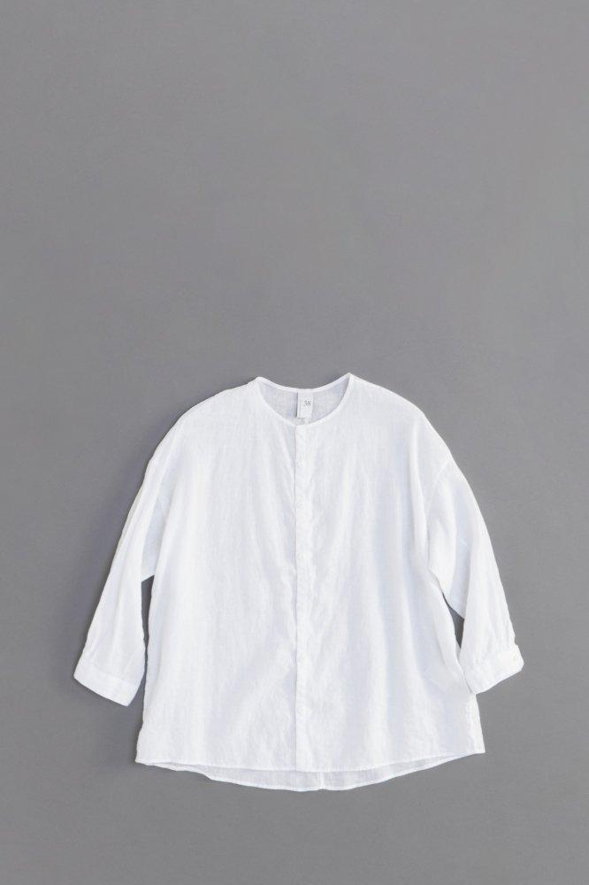 NO CONTROL AIR ♀ 80/-平織リネン ノーカラーシャツ (ホワイト)