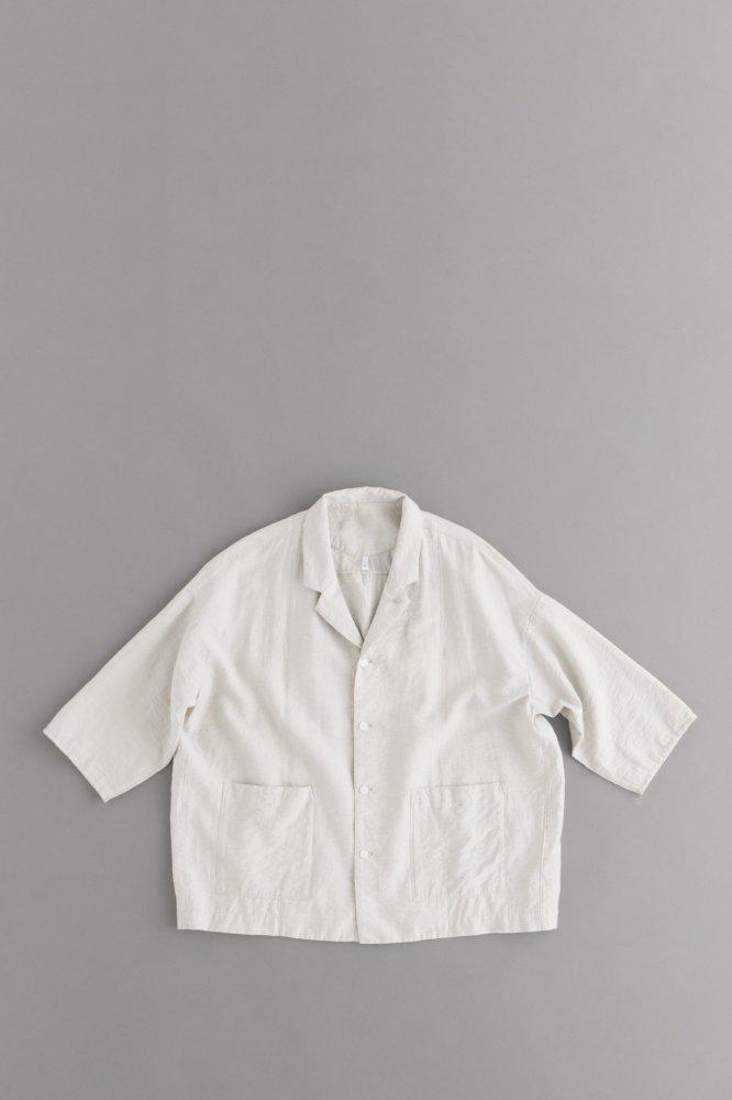 FIRMUM リネン&レーヨン ライトシャンブレー 7分袖シャツジャケット(アイボリー)