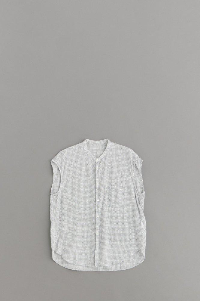 ゴーシュ ♀100/1リネンコットンプリント ノースリーブシャツ (ホワイト×グレー)