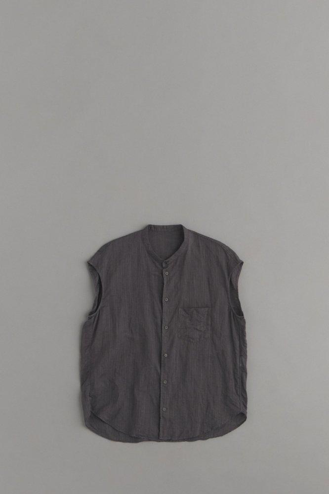 ゴーシュ ♀100/1リネンコットン ノースリーブシャツ (チャコールグレー)