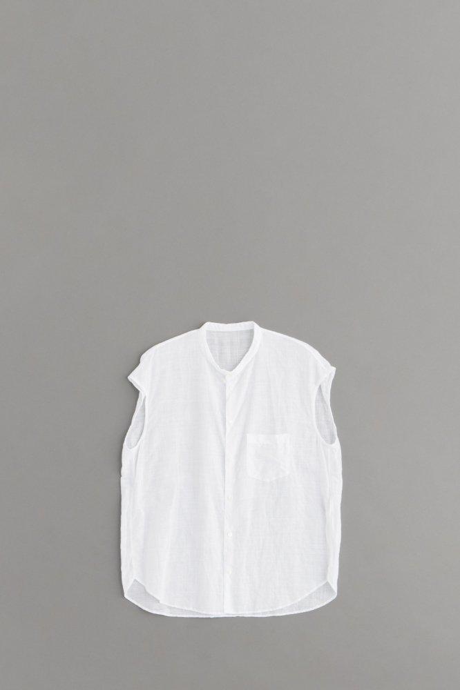 ゴーシュ ♀100/1リネンコットン ノースリーブシャツ (ホワイト)