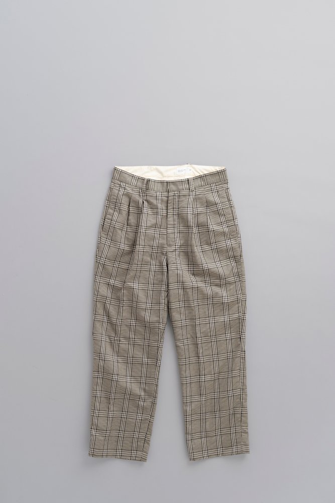 STILL BY HAND C/L 2-Tuck Wide Slacks (Grey Check)