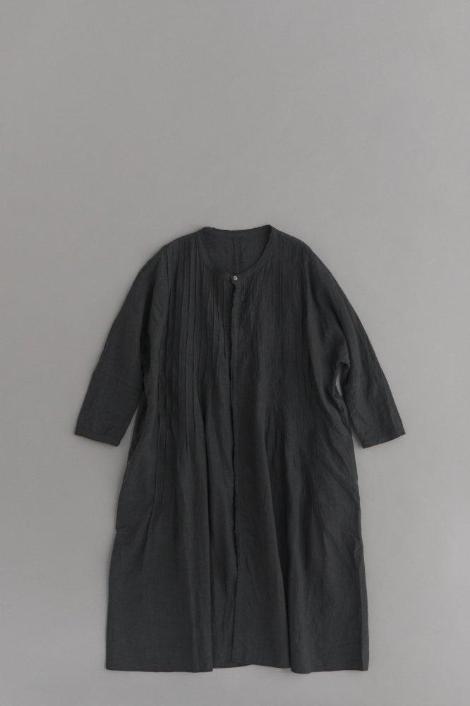 KAPITAL ♀フレンチクロスリネンピンタックオキーフドレス(ブラック)
