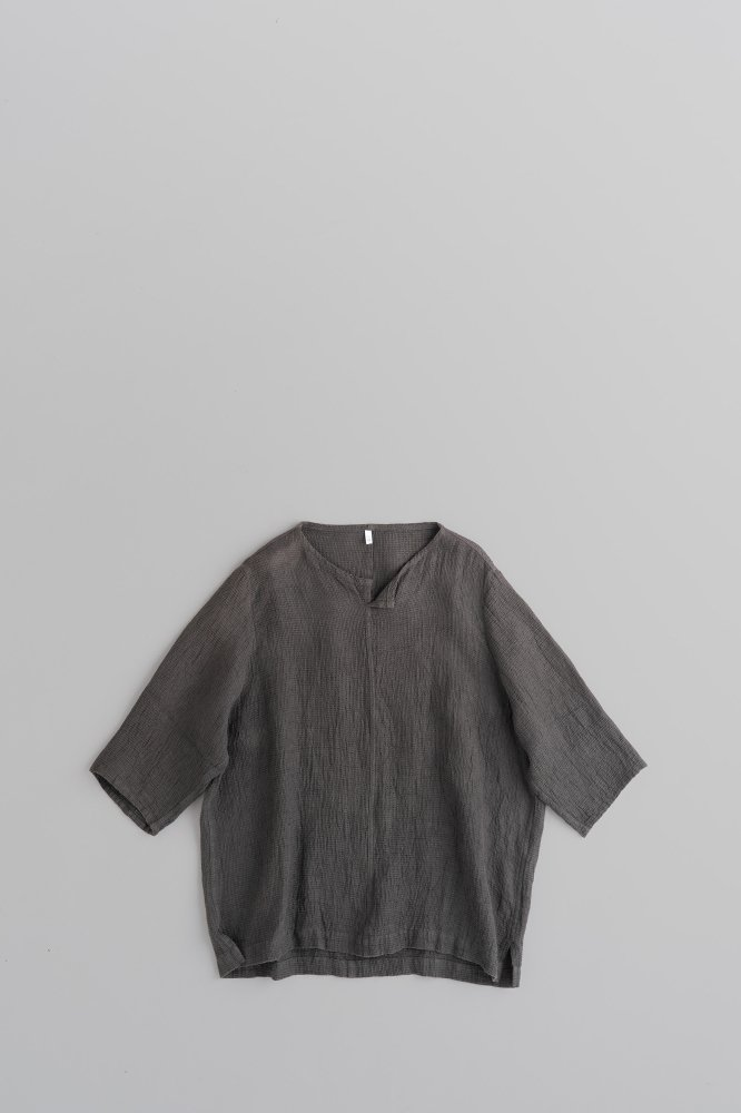 FIRMUM リネンソフトワッフルクロス ビッグシャツ (ダークグレーダイ)
