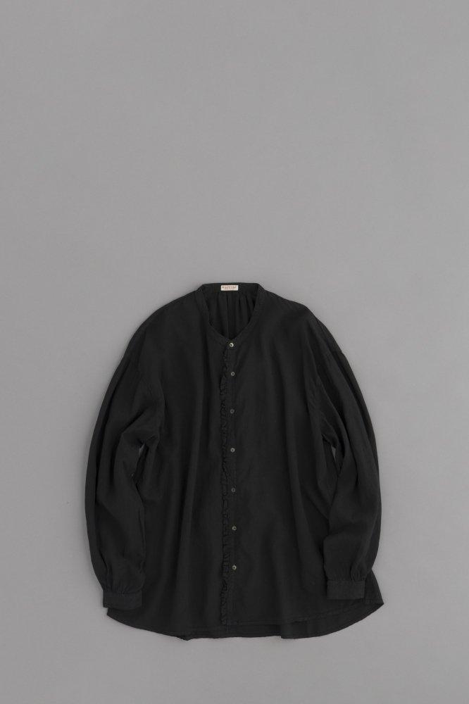 KAPITAL ♀ソフトリネンバンドカラープチフリルシャツ(ブラック)
