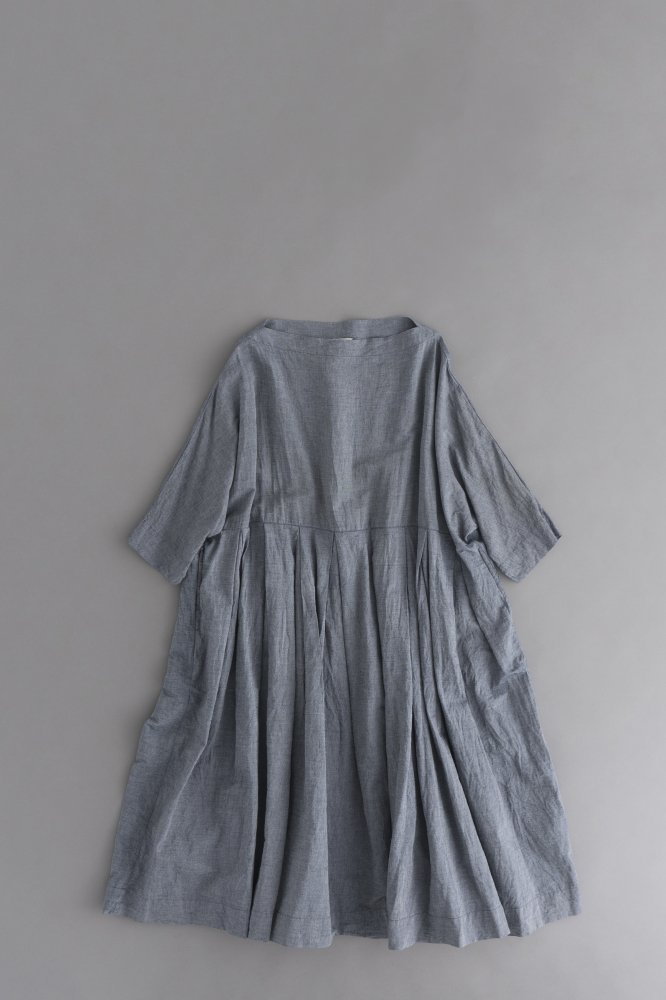 jujudhau ♀TUCK DRESS (CHAMBRAY)