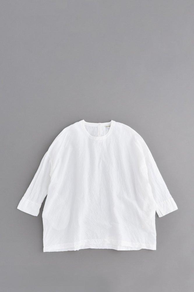 jujudhau ♀ SMALL NECK SHIRTS (LINEN COTTON WHITE)