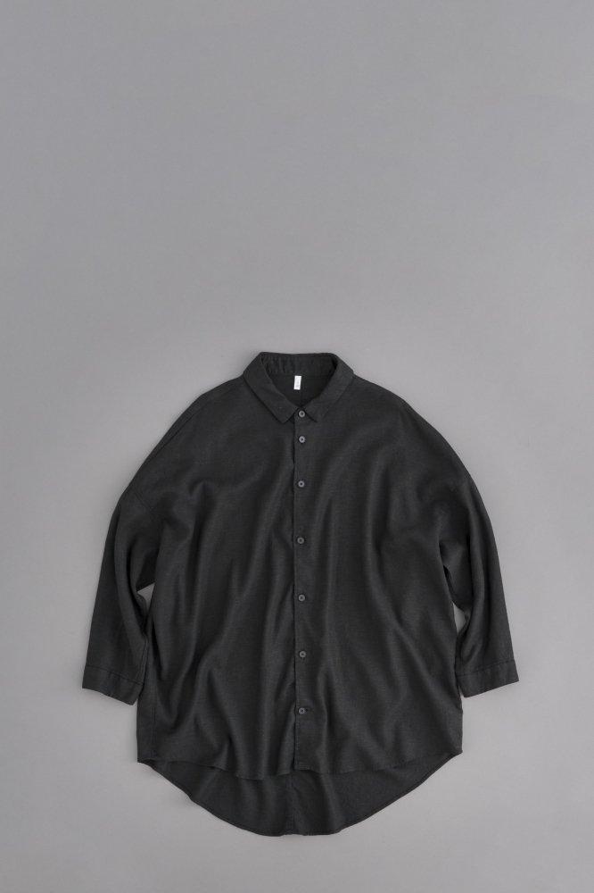 FIRMUM レーヨンリネンキャンバス ビッグシャツ (ブラック)