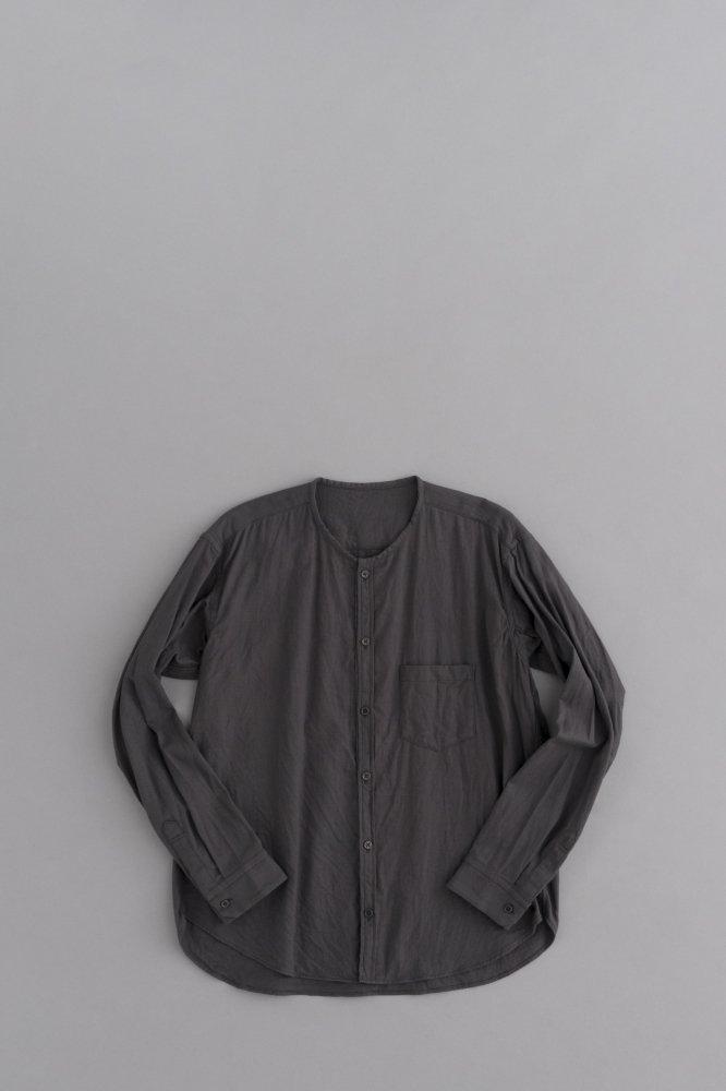 ゴーシュ ♀コットンウールビエラ ノーカラーシャツ (チャコールグレー)