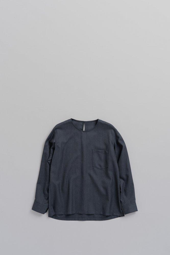 ゴーシュ ♀クリアウールヘリンボン クルーネック プルオーバーシャツ (ネイビー)