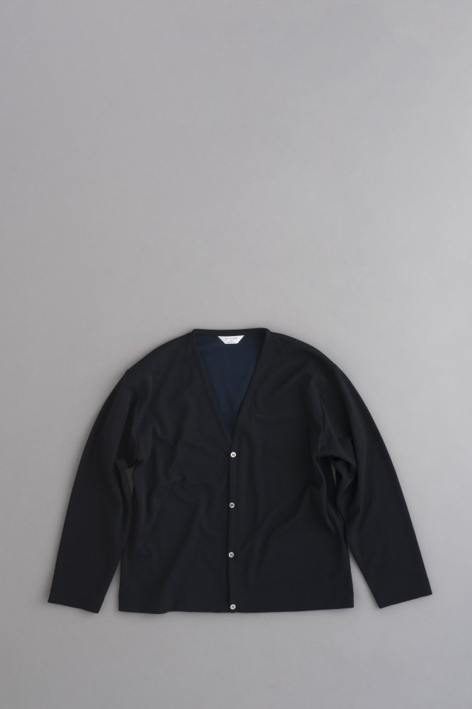 STILL BY HAND Milano Rib V Neck Cardigan (Navy)