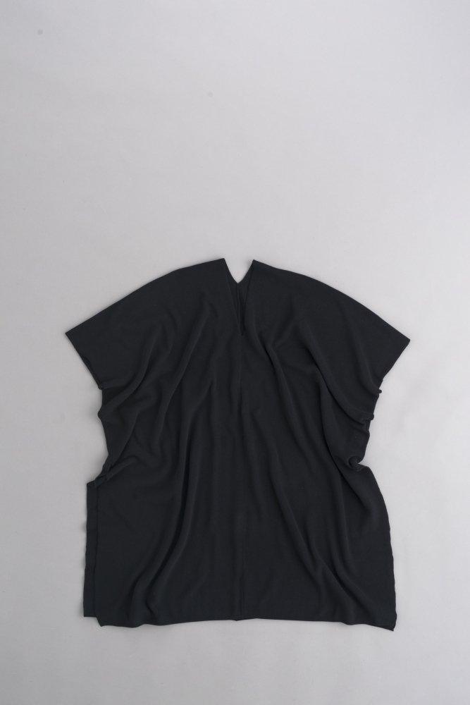 ゴーシュ ♀コンパクトツイストリブ Vネックロングプルオーバー (ブラック)