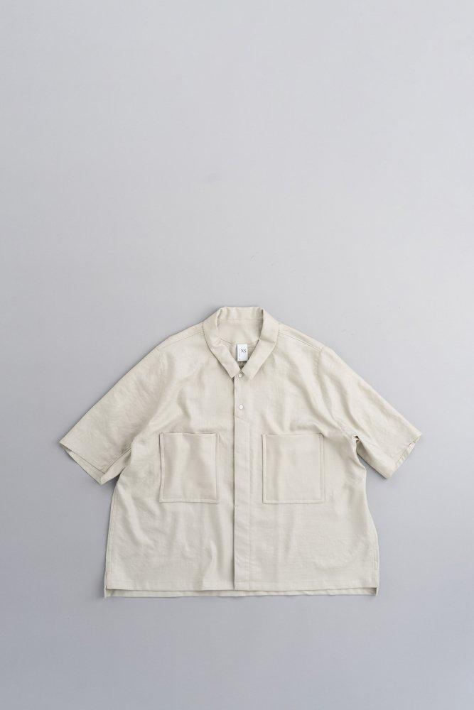 NO CONTROL AIR リネンライク チンツブッチャー 6分袖ビッグシャツ(ミストグレー)