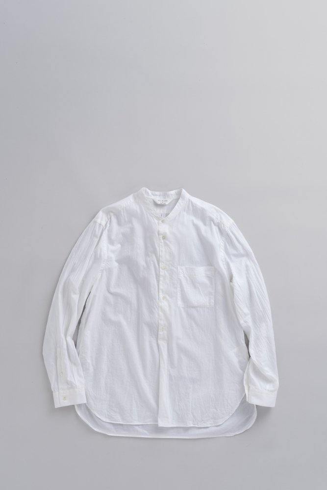 STILL BY HAND C/S Stand Collar Pullover Shirt (White)