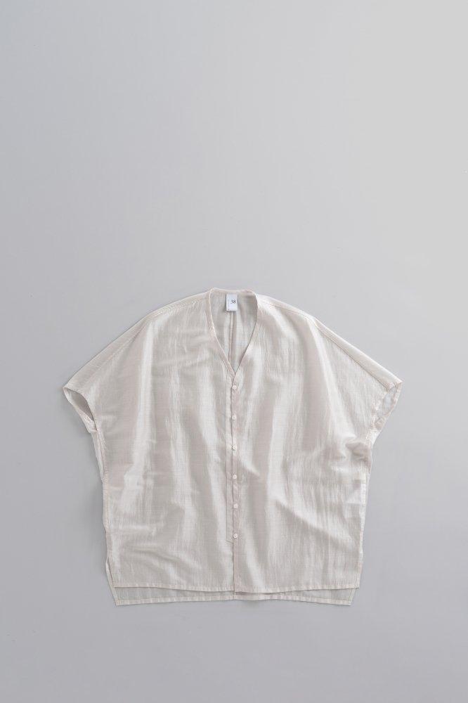 NO CONTROL AIR ♀ リヨセル カールマイヤー ワイドVネックシャツ (オフホワイト)