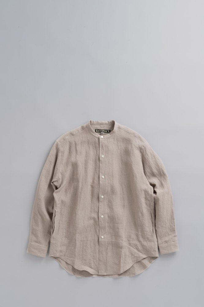 HAVERSACK Linen Poplin Band Collar Shirt (Beige)