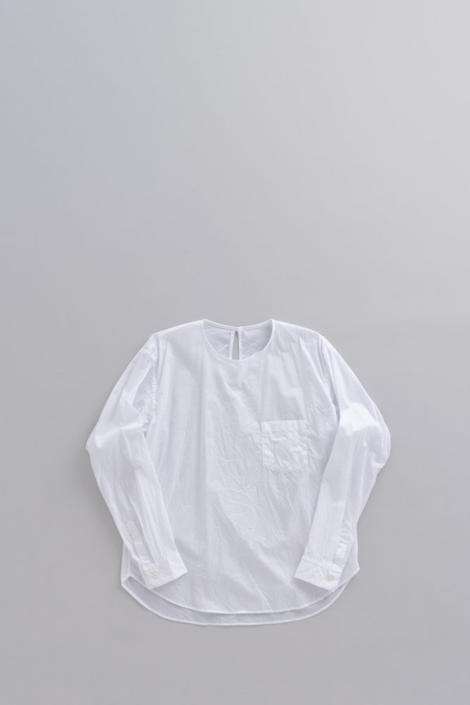 ゴーシュ ♀ブロード クルーネック プルオーバーシャツ (ホワイト)